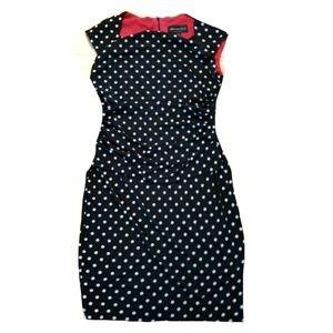 CONNECTED Polka Dot Ruched Draped Pencil Dress